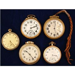 Five Vintage Elgin Pocket Watches