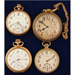 4 Vintage Illinois Pocket Watches