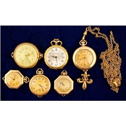 6 Vintage Gold Ladies Open Face Watches