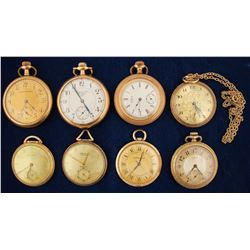 Eight Vintage Gold Pocket Watches