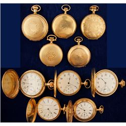 Five Vintage 14K Gold Pocket Watches
