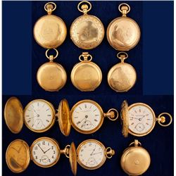 Six Vintage Gold Pocket Watches