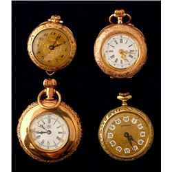 Vintage Ladies Gold Open Face Pocket Watches