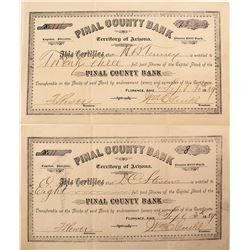 Two Pinal County Bank Stock Certificates