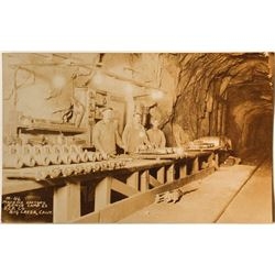 Postcard of Machine Doctor's Bench at Camp 62, Southern California Edison Company, Big Creek, CA