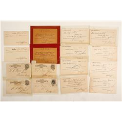 Sixteen Bodie Bank and J. S. Cain Receipt Postal Cards