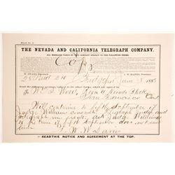 Nevada & California Telegraph Co. Receipt, Bridgeport, CA, 1883
