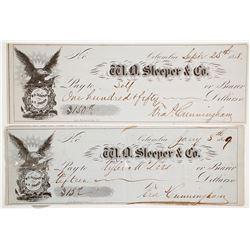 W. O. Sleeper & Co. Checks, Columbia, California, 1850s