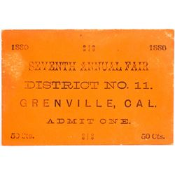 1880s Ticket to the Seventh Annual Fair, Greenville, California