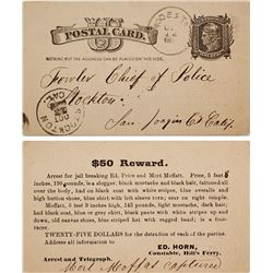 $50 Reward for Jail Break, Postcard, Hill's Ferry, California