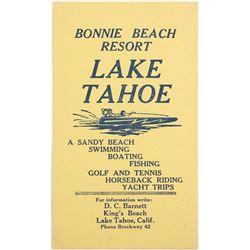 Extra Rare Bonnie Beach Resort Brochure, Lake Tahoe