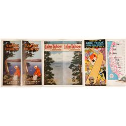 Three Lake Tahoe Brochures: railroad, bus, and auto