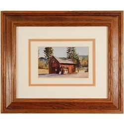 Print of Glenbrook Barn by de Curtis (Lake Tahoe)