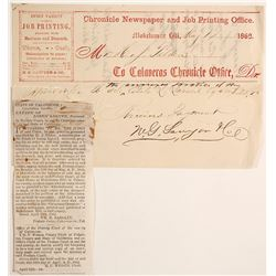 Calaveras Chronicle Billhead, Mokelumne Hill, 1862