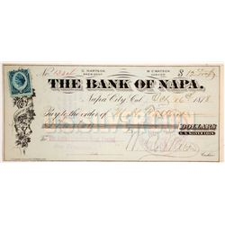 Bank of Napa Check Paid in US Silver Coin, 1878