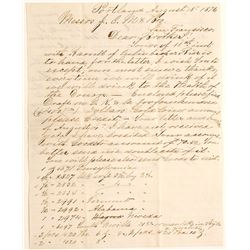 1876 Letter Between Meussdorffer Brothers, Pioneer SF Hatters