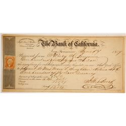 Rare Bank of California 1867 Telegraphic Order