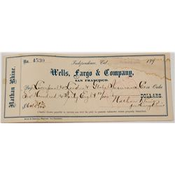 Rare Wells Fargo & Co. Independence, California Check (Inyo County)