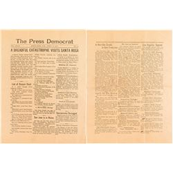 Press Democrat Issue about San Francisco Earthquake