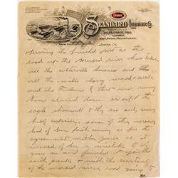 Standard Lumber Co. Complaining Letter, Sonora, California