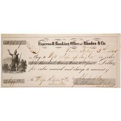 Gold Rush Era Check from Rhodes & Co., Yreka, California