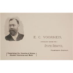 E.C. Voorheis, California State Senator & Mining Man, Pictorial Business Card, c.1890s