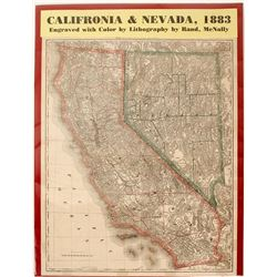 Map of California & Nevada, 1883