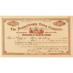 The Pennsylvania Town Company Stock Certificate (Arlington Springs)
