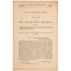 1868 Postmaster General Report About Contracts with Ben Holladay