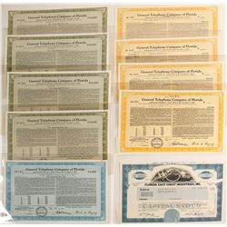 Florida Telephone Stock Certificates & Bonds
