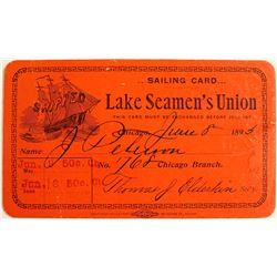 Lake Michigan Seaman's Union Card