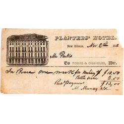 Planters' Hotel Receipt, 1848, New Orleans
