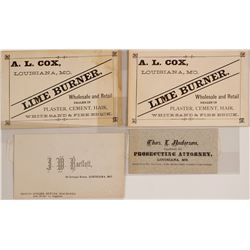 Louisiana, Missouri Business Cards c.1890s