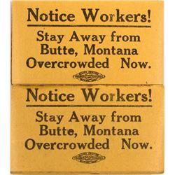 2 Labor Union Strike Pads, Butte, Montana