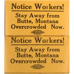 2 Labor Union Strike Pads, Butte, Montana