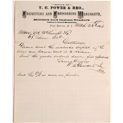 Letter for T.C. Power & Bro. Military & Indian Traders, 1876