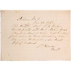 "1866 Deposit of ""Gulch Gold Dust,"" Helena, Montana Territory"