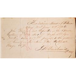 Helena, Montana Territory Deposit for a Gold Bar, 1866