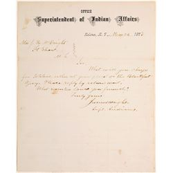 Letter to Ft. Shaw from Supt. of Indian Affairs, 1873, Montana Territory