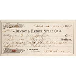 Benton & Barker Stage Co. Receipt, Philbrook, Montana Territory