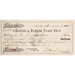 Benton & Barker Stage Co. Receipt, Philbrook, Montana Territory
