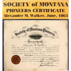 Certificate of Alexander M.Walker, Society of Montana Pioneers