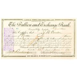 Bullion and Exchange Bank Certificate issued to Overton