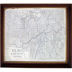 Nicely Framed Large Elko County Map