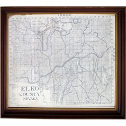 Nicely Framed Large Elko County Map