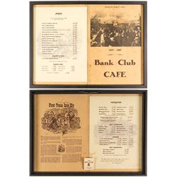 Bank Club Opening Night Menus