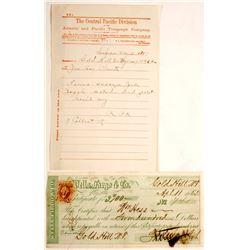 Gold Hill, Nevada Territory Wells Fargo COD Plus Rare Telegraph