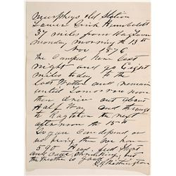 1876 Letter from Murphy's Station, Humboldt Sink, Nevada