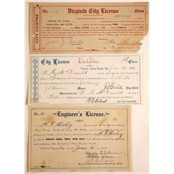 Three Different Virginia City, Nevada Licenses (Wagon, Gambling, Engineer)