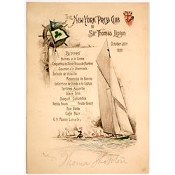 New York Press Club Menu Signed by Sir Thomas Lipton